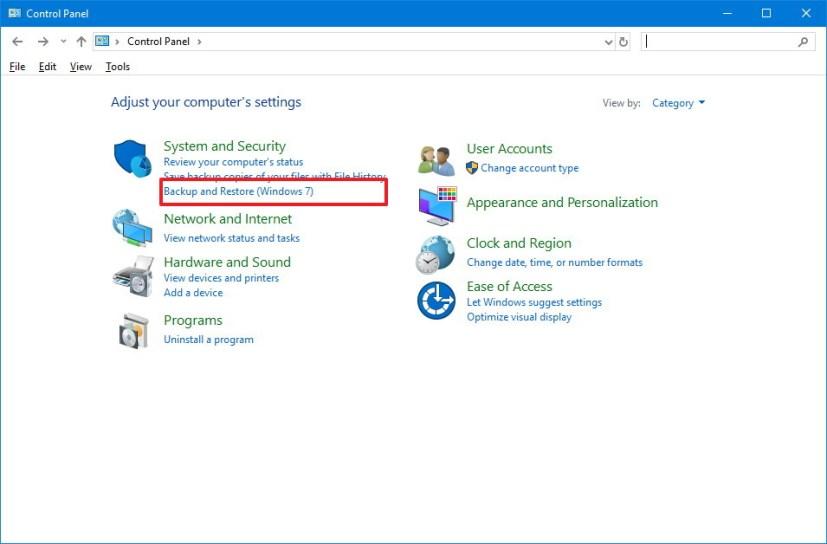 Backup and Restore (Windows 7) option