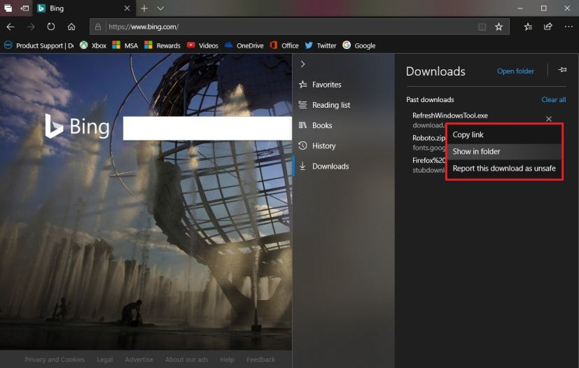 Microsoft Edge Downloads context menu