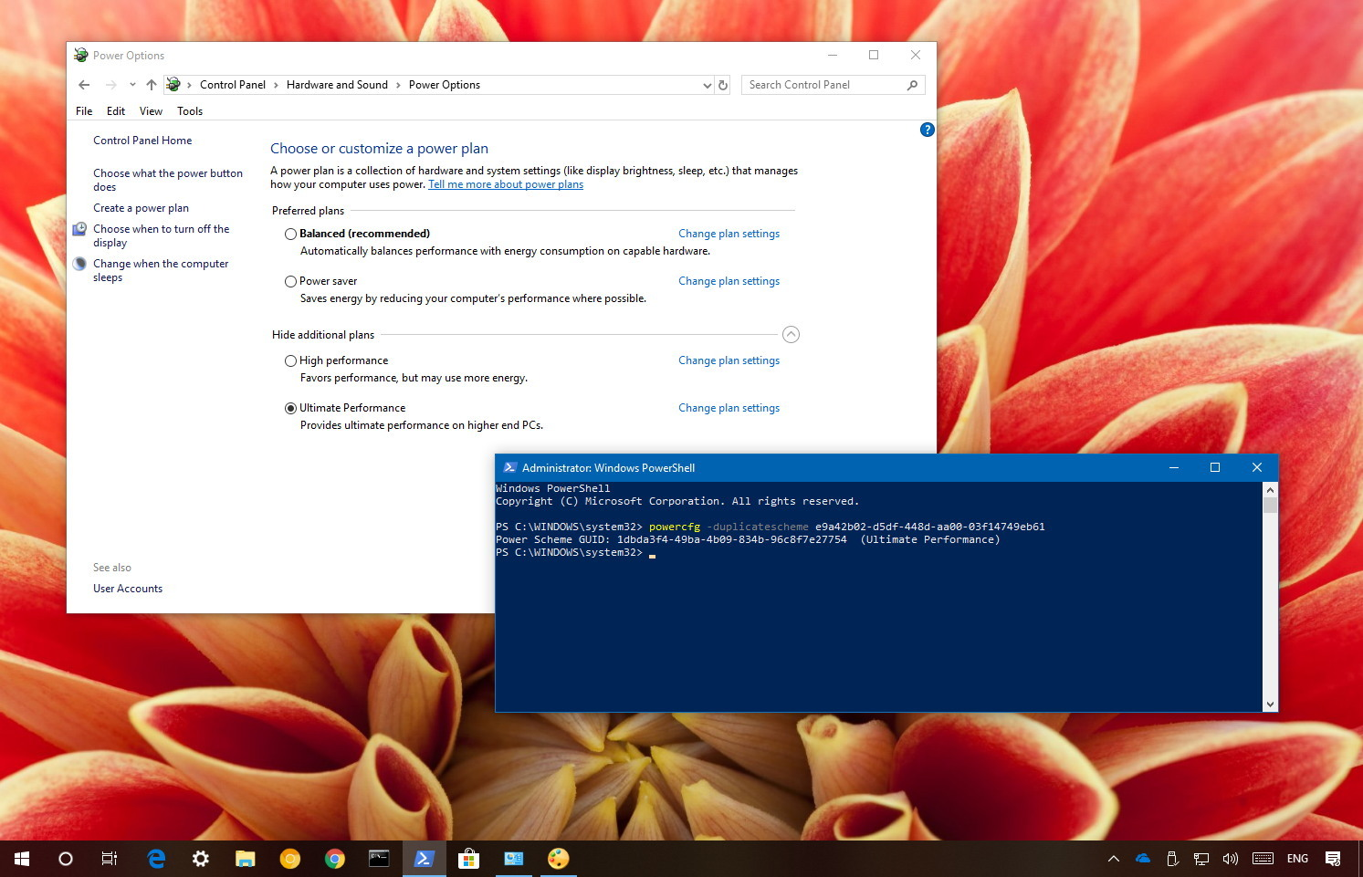 Enable Windows 10 Ultimate Performance power plan