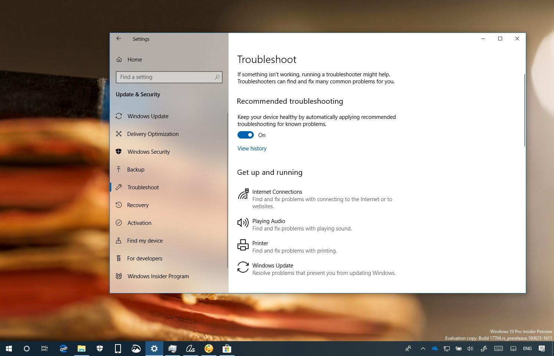 Automatic troubleshooting on Windows 10