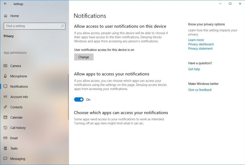 Notifications privacy settings on version 1809