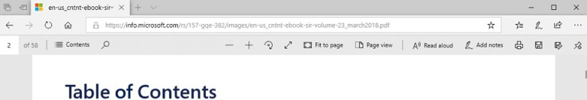 PDF toolbar on Windows 10 build 17713