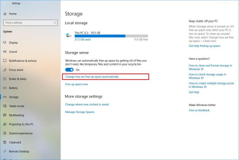 Storage sense settings on Windows 10 version 1809