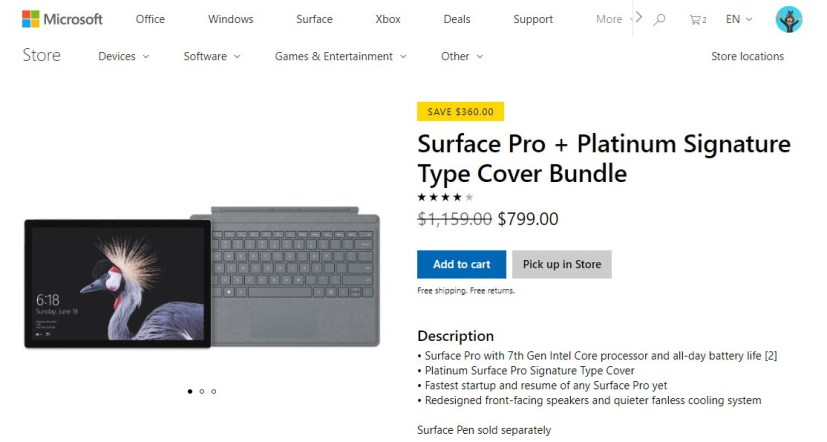 Surface Pro and Type Cover bundle offer