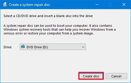 Create disc to repair Windows 10