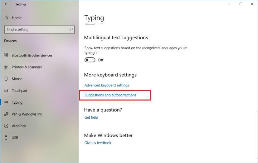 Typing settings on Windows 10