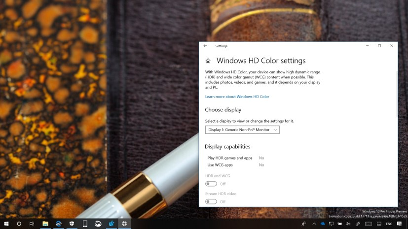 Windows 10 build 17711 HDR settings page