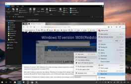Windows 10 version 1809 with File Explorer in dark mode and Edge new menu
