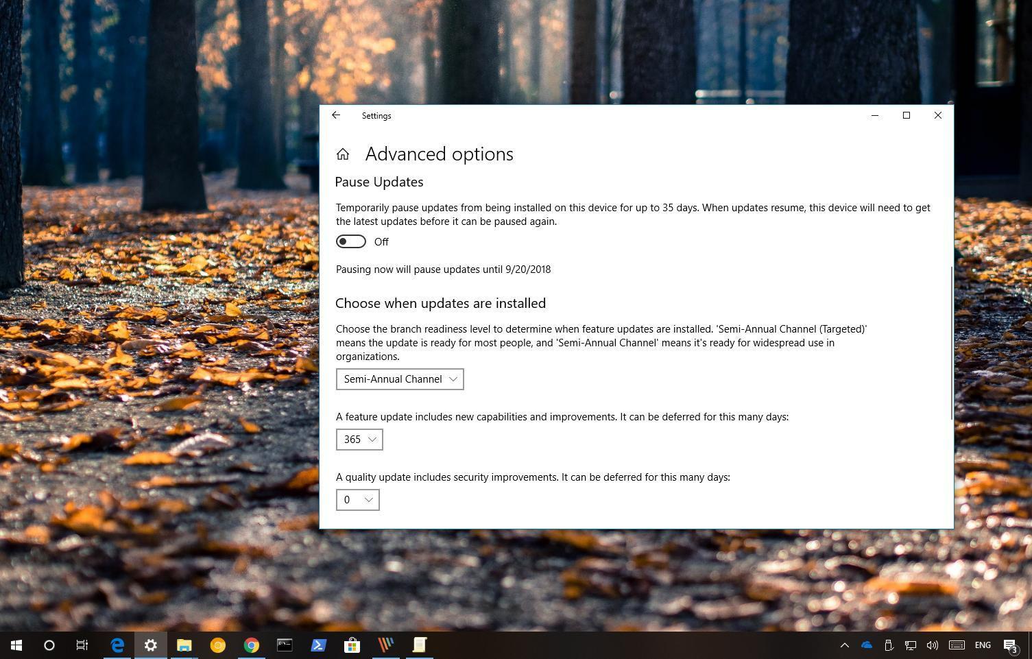 Defer Windows 10 version 1809 (Redstone 5)