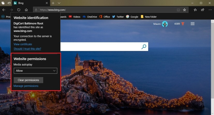 Microsoft Edge Media autoplay settings per website