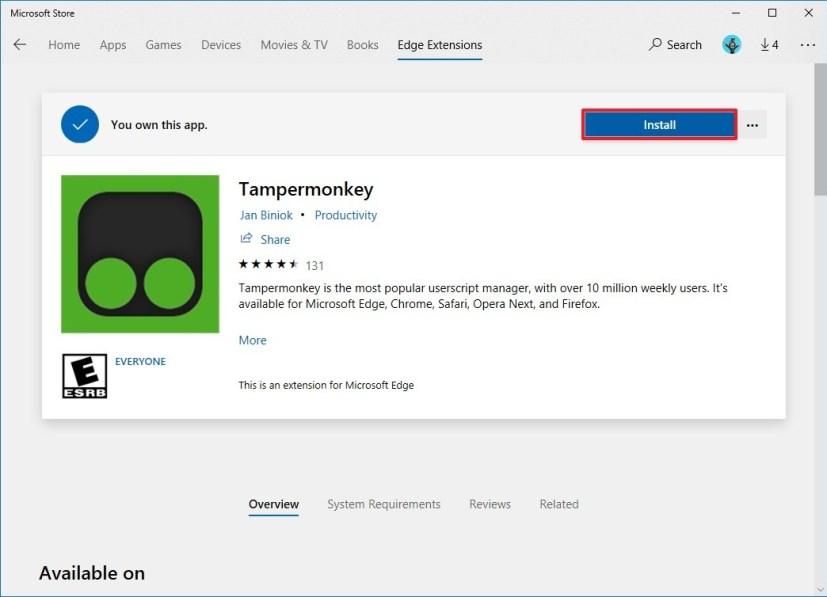Installing Tampermonkey for Microsoft Edge