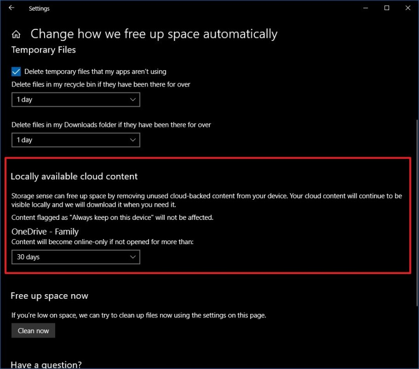 Storage sense with OneDrive option on Windows 10 Redstone 5