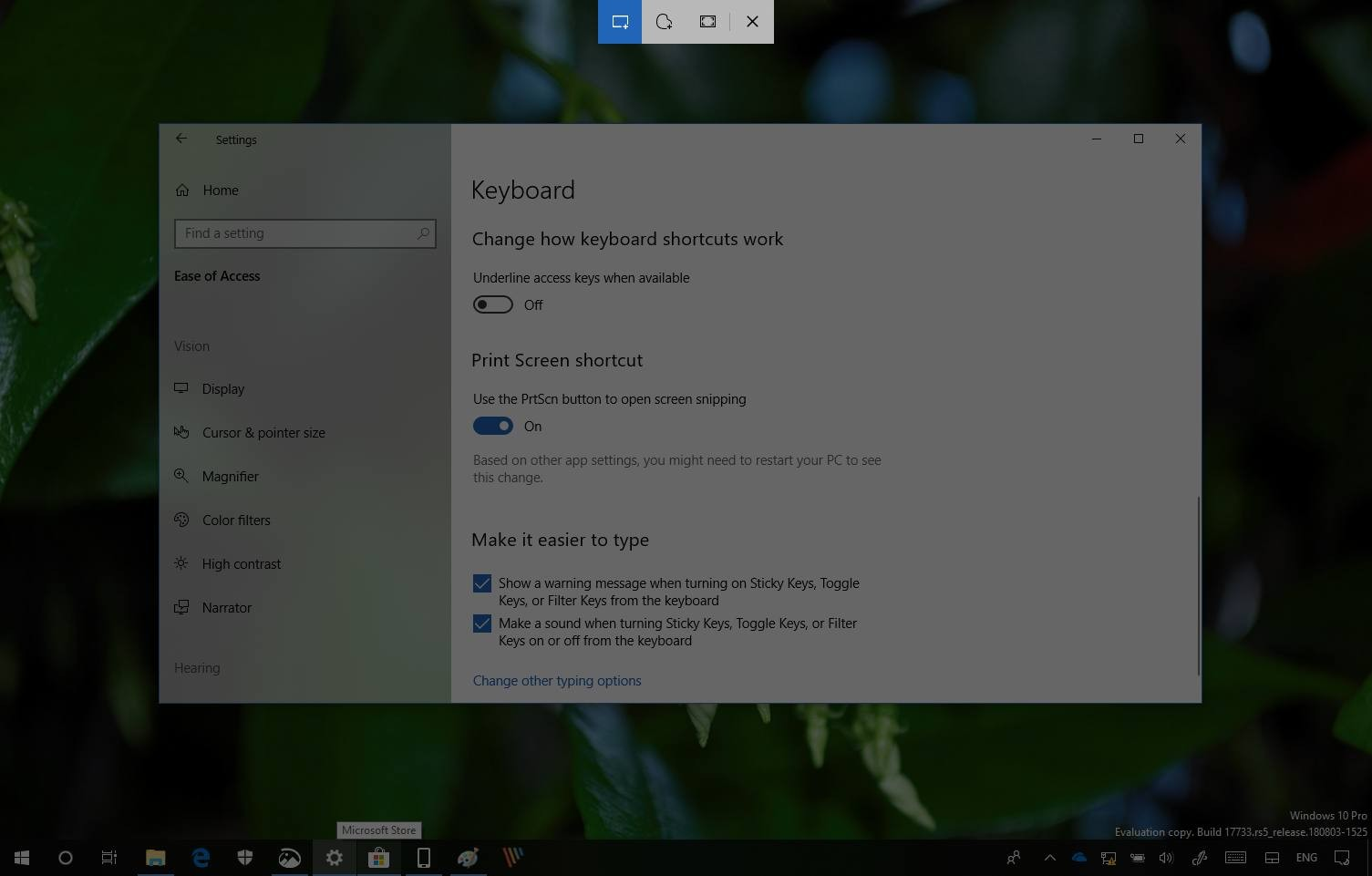 Screen Sketch PrtScn button enabled on Windows 10 version 1809