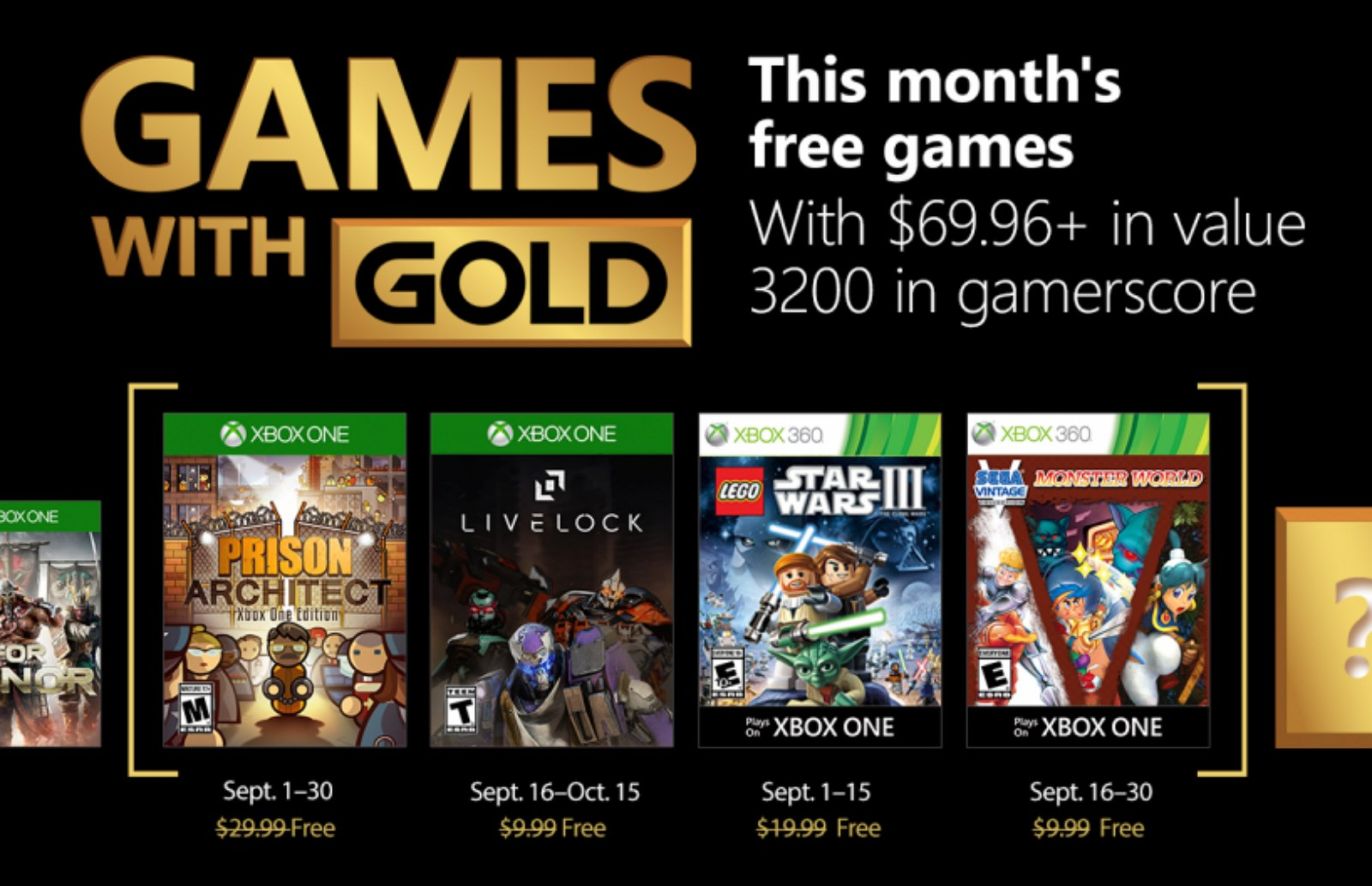 September 2018 Xbox Games with Gold