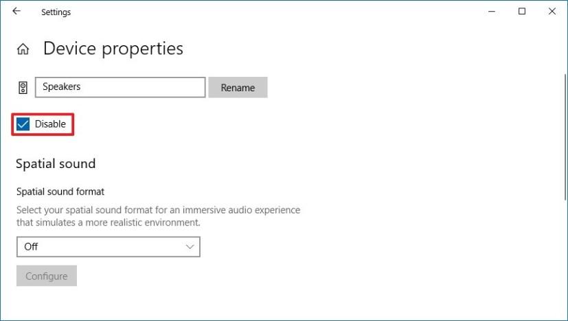 Speakers settings on Windows 10 version 1809