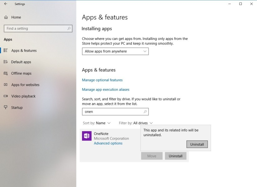 Uninstall Windows 10 apps settings