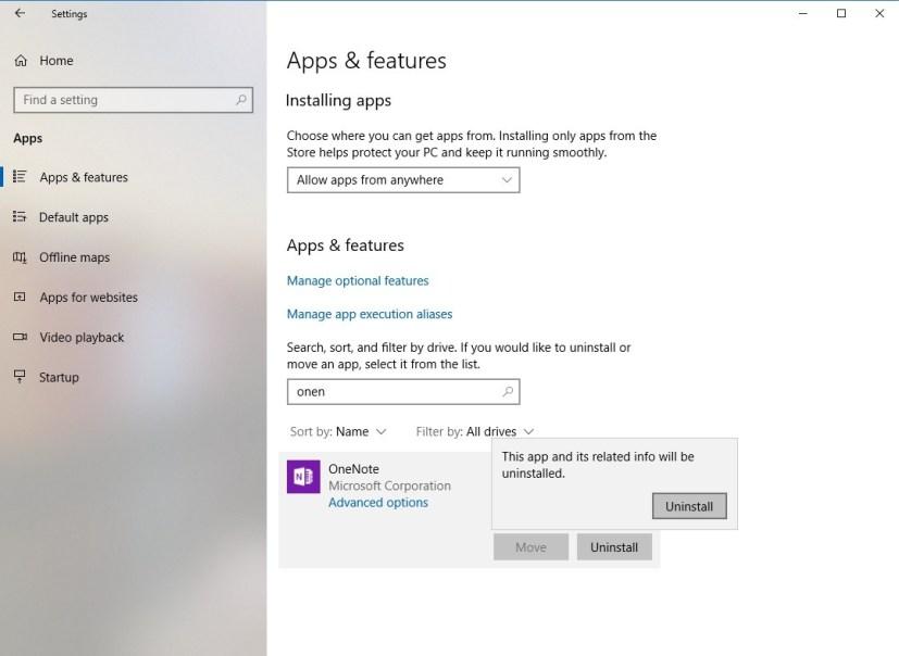 Uninstall Windows 10 apps settings