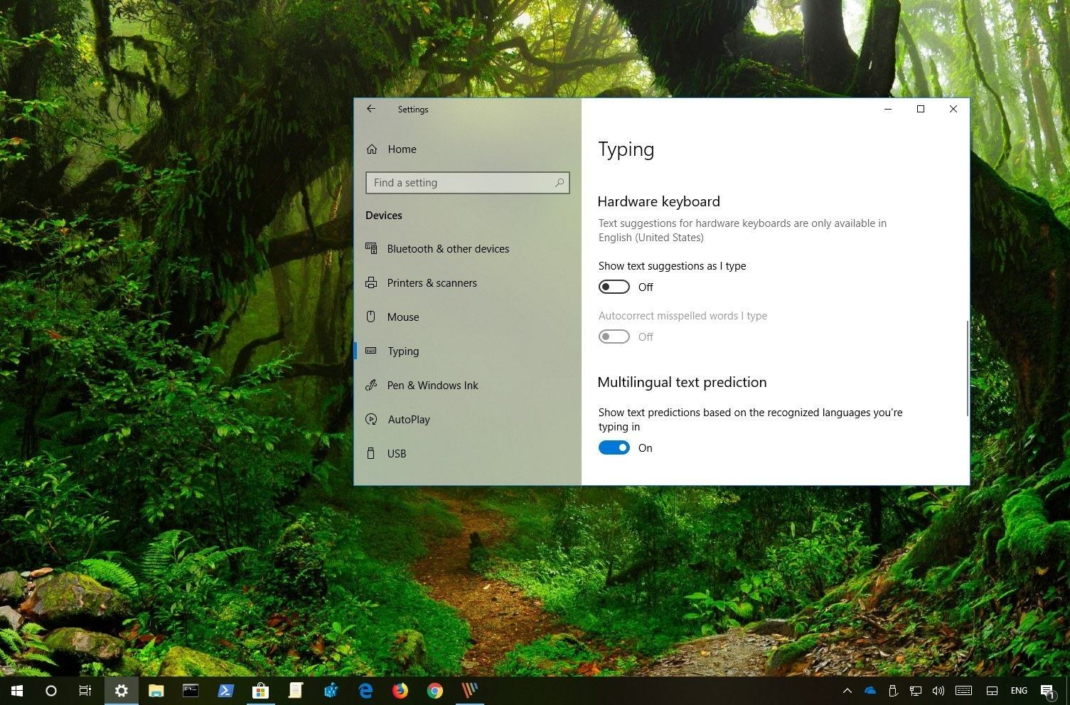 Multilingual text prediction settings on Windows 10