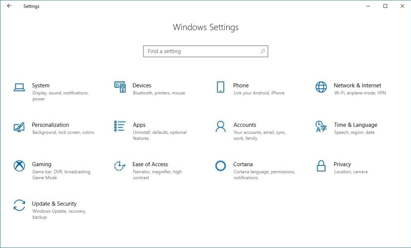 Settings app homepage on Windows 10