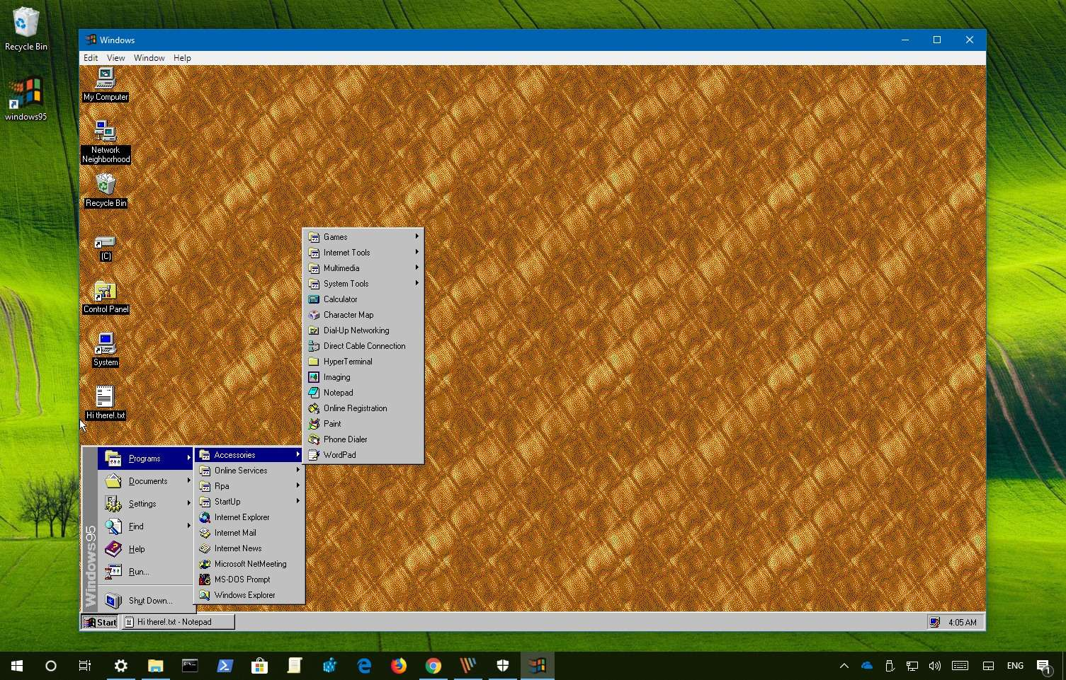 how to run windows 95 on windows 7