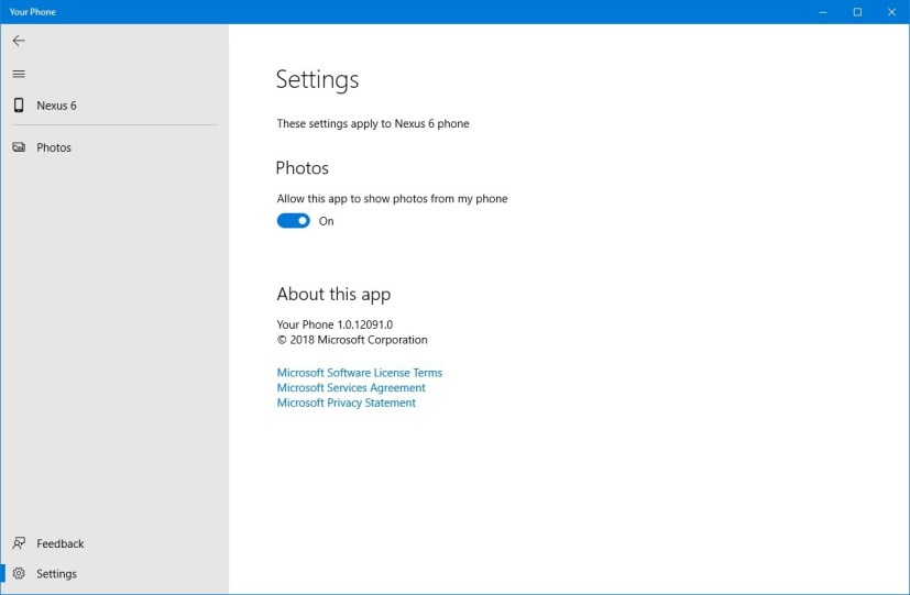 Windows 10's Your Phone settings
