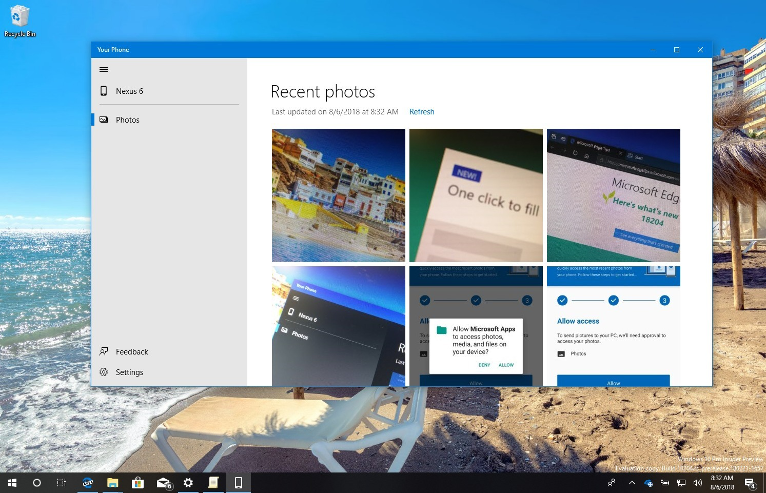 Your Phone app for Windows 10 setup