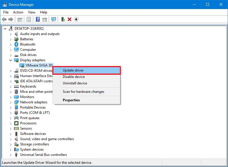 Device Manager update driver option