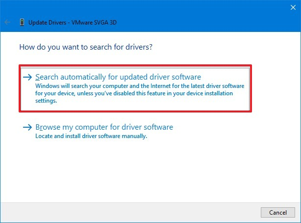 Updating driver software using automatic option