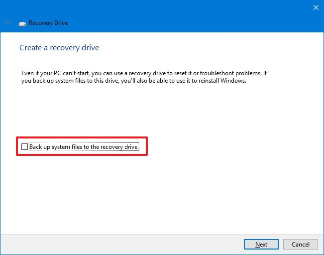 Create Recovery Drive wizard