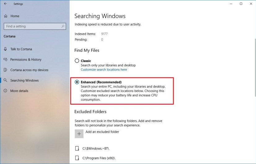 Windows 10 Enhanced search on version 1903