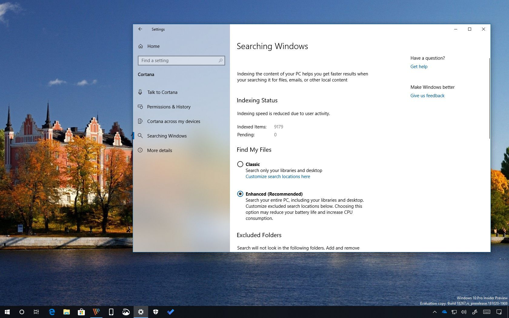Enhanced search mode on Windows 10