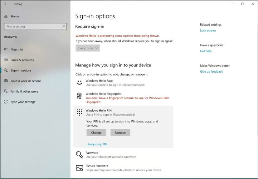 Sign-in options for Windows 10 build 18272