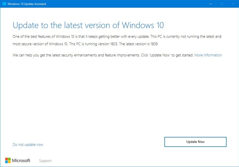 Windows 10 version 1809 Update Assistant