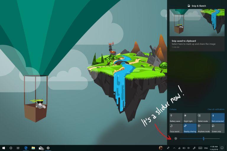 Action Center brightness slider on Windows 10 build 18277