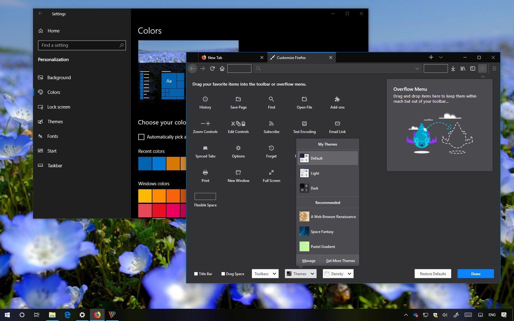 Mozilla Firefox theme settings on Windows 10