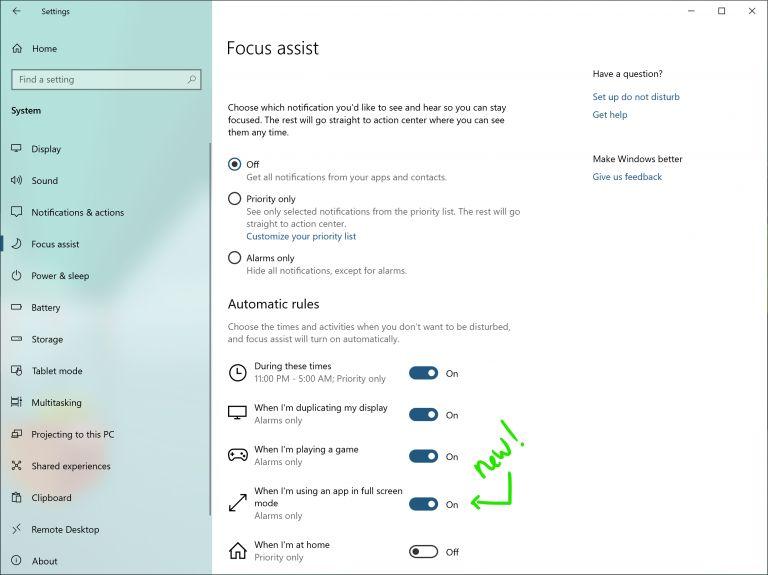 Focus assist on Windows 10 19H1