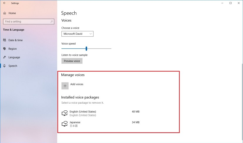 Speech settings with voice controls