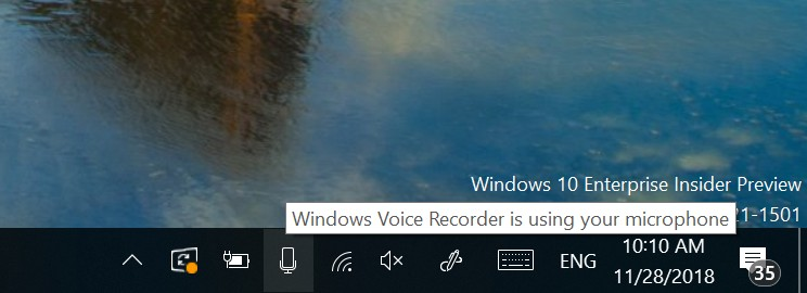 Microphone icon features on Windows 10 build 18290