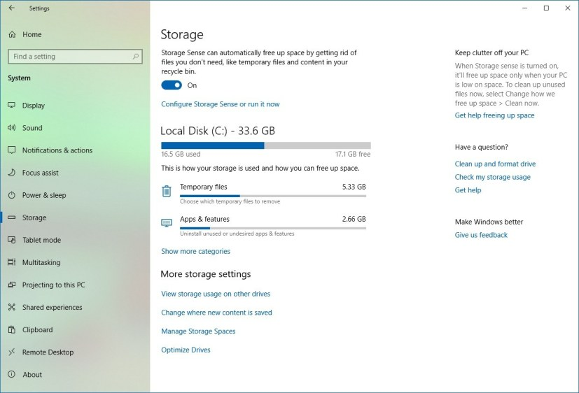Storage settings on Windows 10 19H1