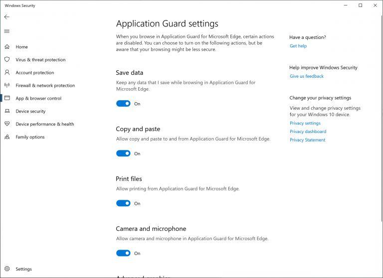 Windows Defender Application Guard for Windows 10 19H1