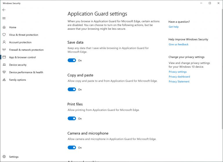 Windows Defender Application Guard for Windows 10 19H1