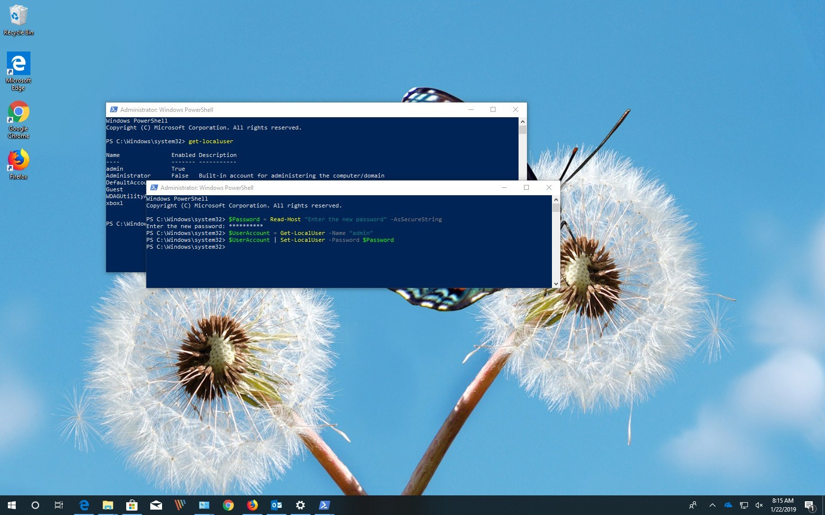 How to change account password using PowerShell on Windows 10