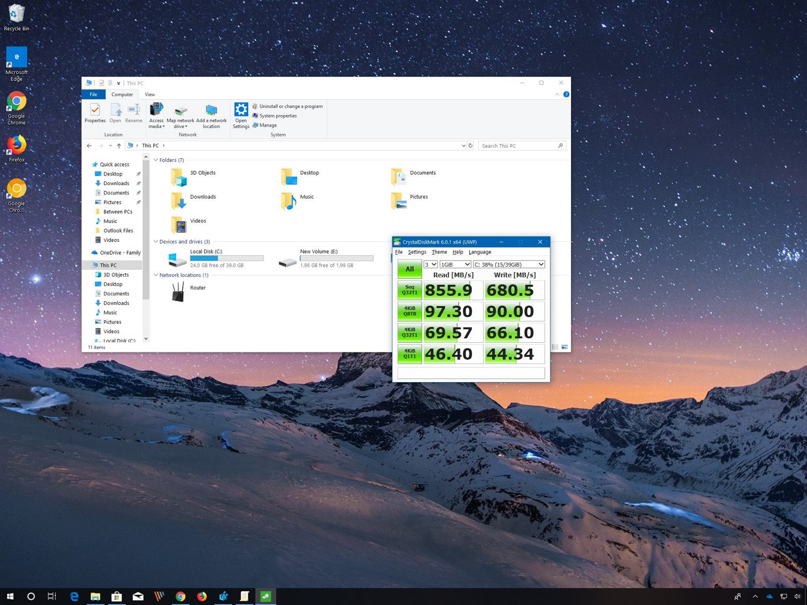 CrystalDiskMark drive performance test on Windows 10