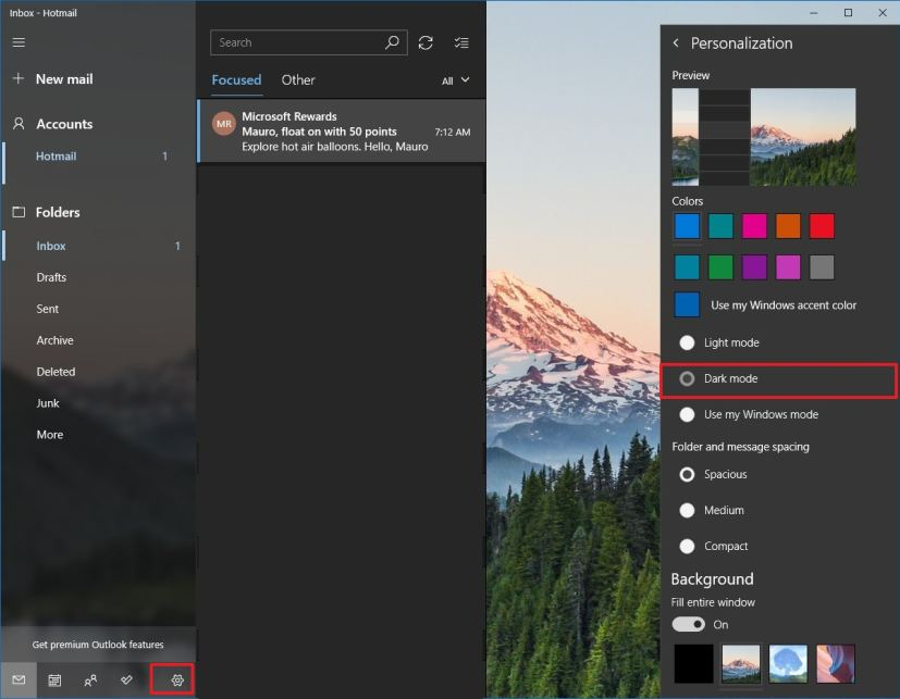 Mail app in dark mode on Windows 10