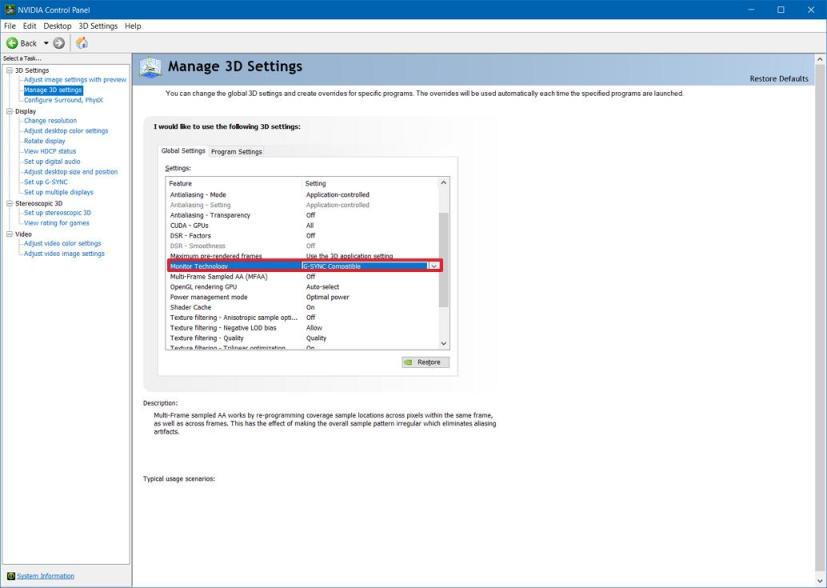 Monitor Technology settings on Nvidia Control Panel