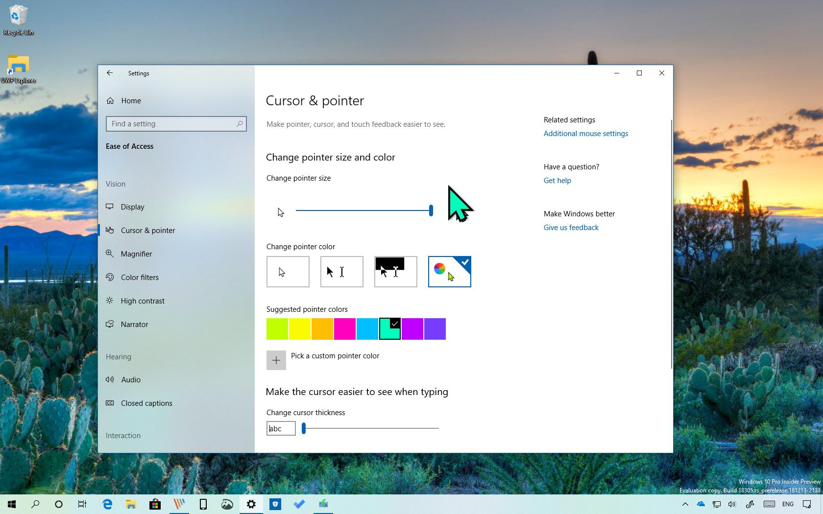 Mouse pointer with custom color on Windows 10