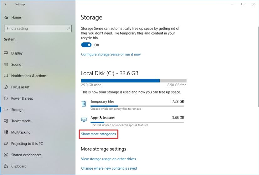 Storage settings with Show more categories
