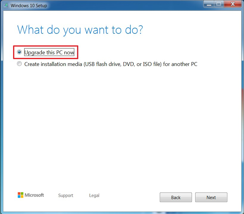 Media Creation Tool upgrade Windows 7 to WIndows 10 option