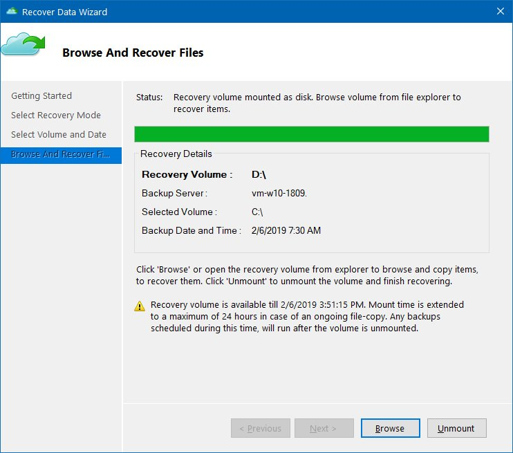 Azure backup browse recovery point to restore data