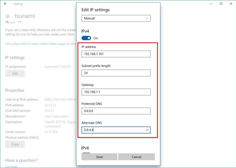 Assign static IP address using Settings on Windows 10